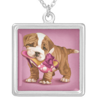 English bulldog and shoe silver plated necklace