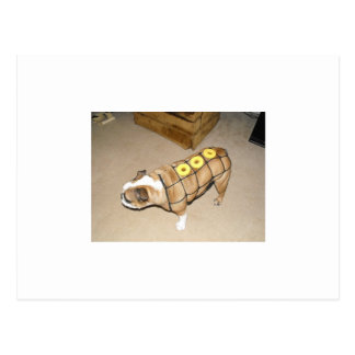 english bulldog as honeybaked ham postcard