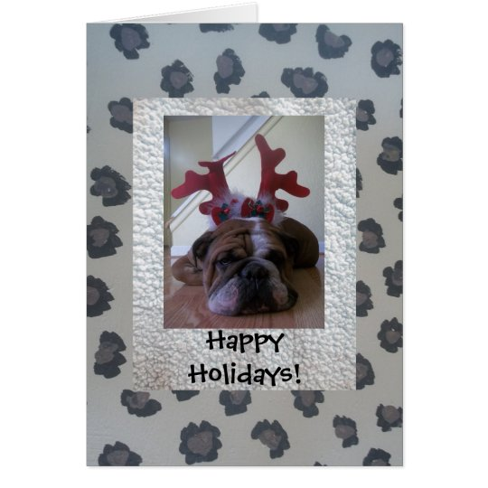 English bulldog as reindeer Happy Holiday card