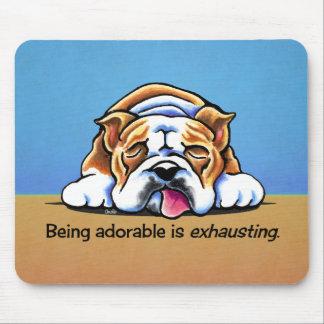 English Bulldog Being Adorable Off-Leash Art™ Mousepads