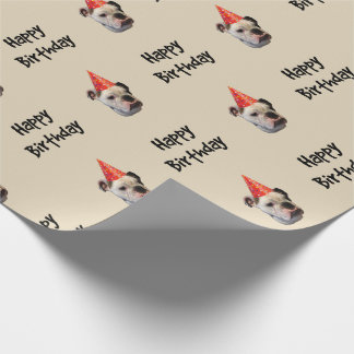 English Bulldog Birthday Party Hat Wrapping Paper