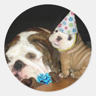 English Bulldog Birthday Stickers