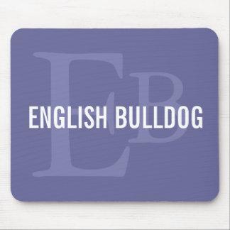 English Bulldog Breed Monogram Design Mouse Pads