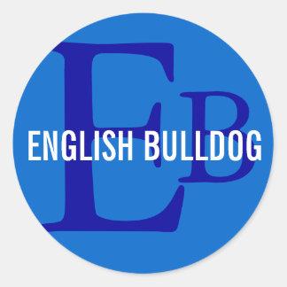 English Bulldog Breed Monogram Design Stickers