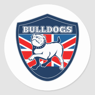 English bulldog british rugby sports team mascot round stickers