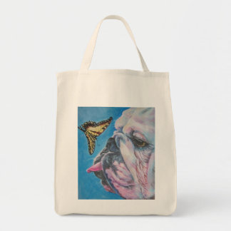 english bulldog butterfly tote bag