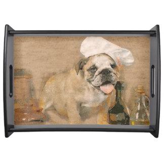 English Bulldog Chef Serving Tray