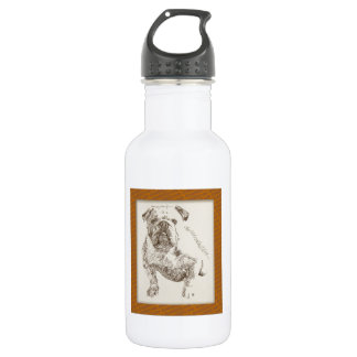 English Bulldog dog art drawn from words 532 Ml Water Bottle
