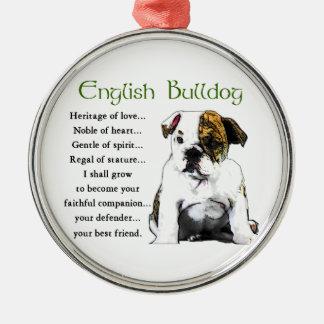 English Bulldog Heritage of Love Metal Ornament