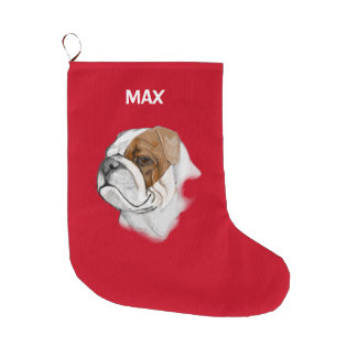 English Bulldog in Portrait Large Christmas Stocking