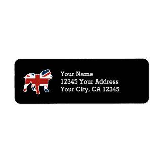 English Bulldog in Union Jack Flag Return Address Label