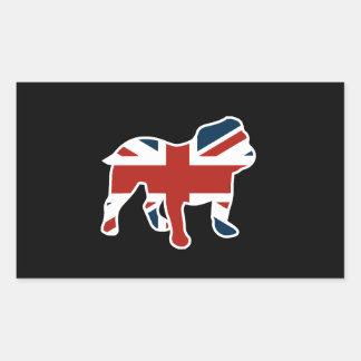 English Bulldog in Union Jack Flag Rectangular Sticker