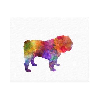 English Bulldog in watercolor Canvas Print
