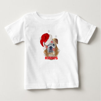 English Bulldog Kisses For Christmas Apparel Baby T-Shirt