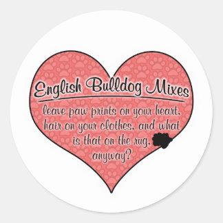 English Bulldog Mixes Paw Prints Dog Humor Sticker