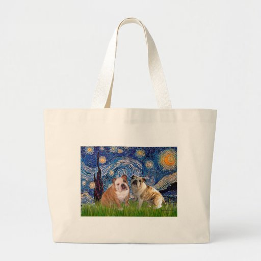 English Bulldog Pair 2 - Starry Night Tote Bag