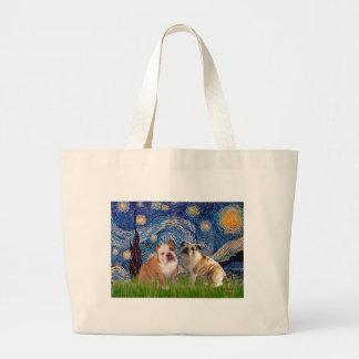 English Bulldog Pair 2 - Starry Night Large Tote Bag
