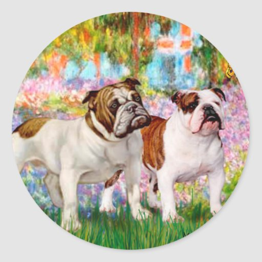 English Bulldog Pair - Garden Stickers