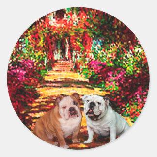 English Bulldog Pair - The Path Round Sticker