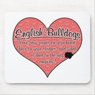 English Bulldog Paw Prints Dog Humor Mousepads