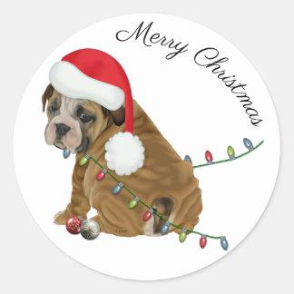 English Bulldog Puppy Christmas Classic Round Sticker