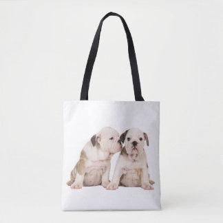 English bulldog puppy dogs tote bag