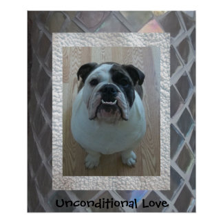 "English Bulldog Puppy Poster ""Unconditional Love"""
