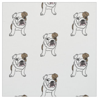 English Bulldog Puppy Print Dogs Puppies Pets Fabric