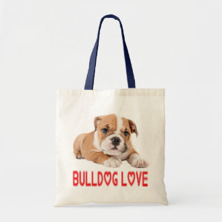 English Bulldog  Puppy Tan & White Dog Red Love Tote Bag