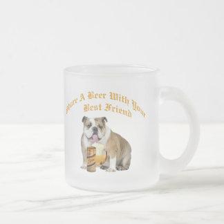 English Bulldog Shares Beer Coffee Mugs