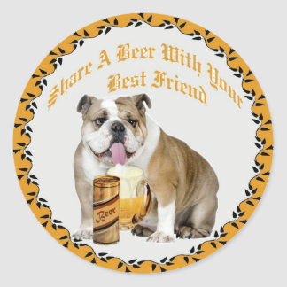 English Bulldog Shares Beer Sticker