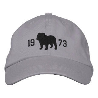 English Bulldog Silhouette with Custom Text Embroidered Hat