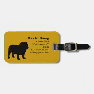 English Bulldog Silhouettes with Custom Text Luggage Tag