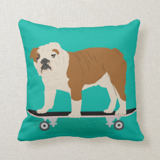 English Bulldog skateboard pillow Throw Cushions