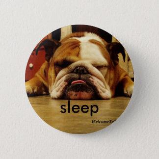 english-bulldog, sleep 6 cm round badge