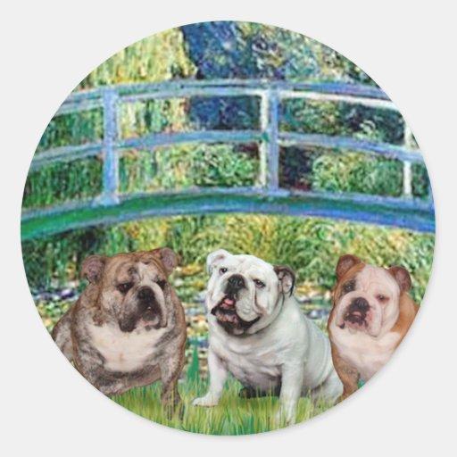 English Bulldog Trio - Bridge Round Stickers