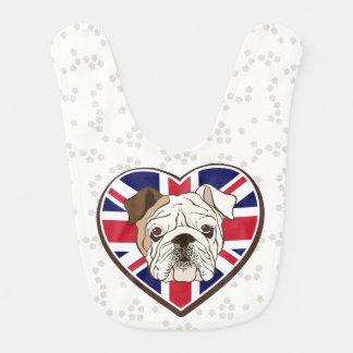 English Bulldog & Union Jack Baby Bib