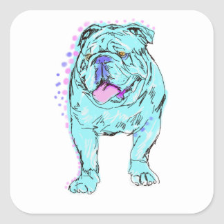 English Bulldog unique colorful pop dog art Square Sticker