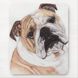 English Bulldog Watercolor Painting Mousepad