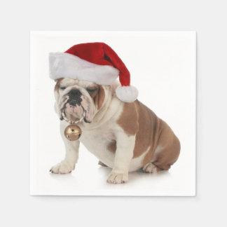 English Bulldog Wearing Santa Hat Paper Napkin
