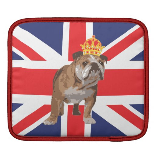 English Bulldog with Crown and Union Jack iPad Sleeve For iPads