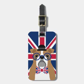 English Bulldog with Glasses Union Jack Flag Tag
