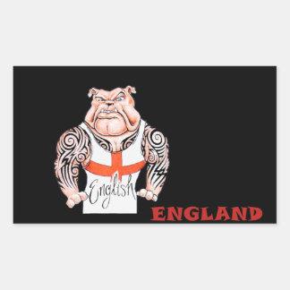 English Bulldog with Tribal Tattoo on Arms Rectangular Stickers