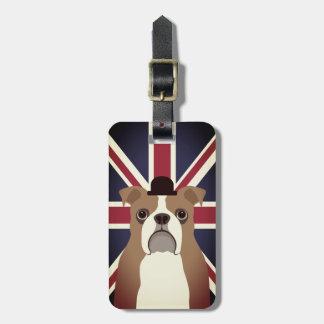 English Bulldog with Union Jack Flag Luggage Tag