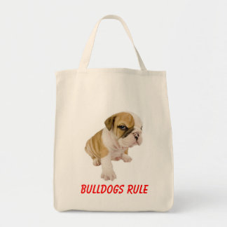English Bulldogs Rule Puppy Dog  Grocery  Tote Bag