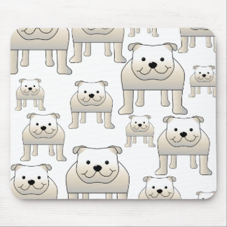 English Bulldogs, White. Dogs Pattern. Mouse Pad