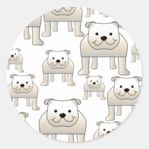 English Bulldogs, White. Dogs Pattern. Stickers