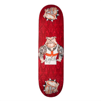 English Bulldogs with Tribal Tattoos Skateboard Deck