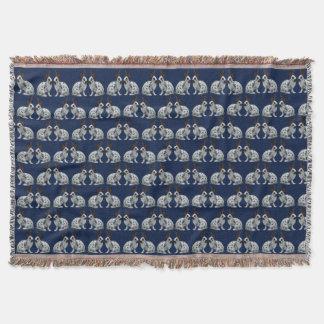 English Bunny Frenzy Throw Blanket (Navy)