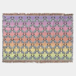 English Bunny Frenzy Throw Blanket (Rainbow)